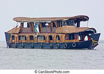 Houseboat in backwater of Kerala