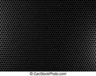 Black metal background with round holes