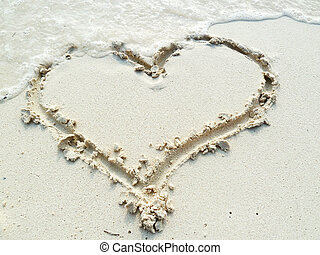 A Heart in the Sand - A heart drawn in the sand of a...