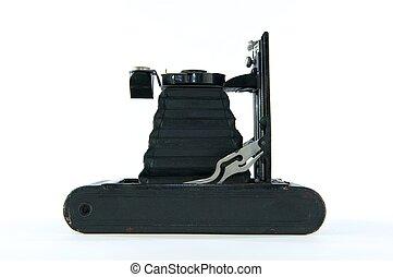 Black Vintage Folding Camera on Side - Black vintage folding...