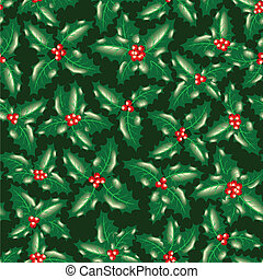 holly berry leaves seamless christmas background