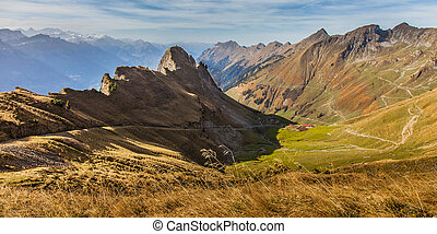 Bernese Alps, Switzerland - View of Bernese Alps, at Brienz,...