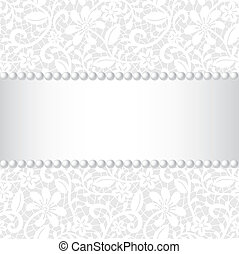 lace, ribbon and pearl - wedding card with lace pattern,...