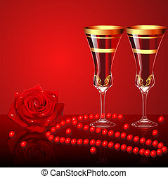 background with rose glasses and beads - illustration...