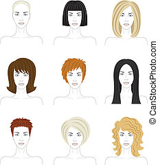 woman faces  - set of woman faces with fashionable hairstyle