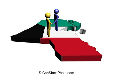 Meeting on Kuwait map flag illustration