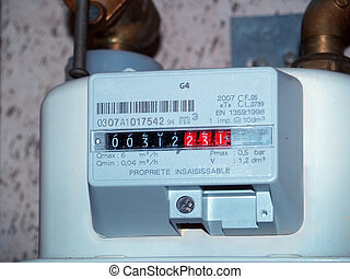 gas meter - Detail of a european gasmeter, measuring the...