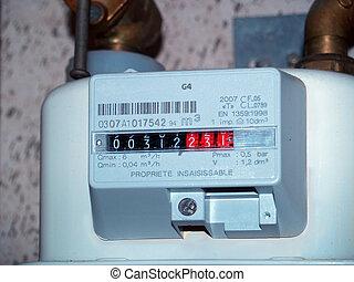 gas meter - Detail of a european gasmeter, measuring the...