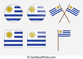 badges with flag of Uruguay