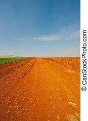 Plowed Fields - Dirt Road between Plowed Fields in Israel,...