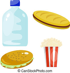 Set of fast food products. eps10