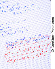 hand written maths calculations with teachers corrections in...