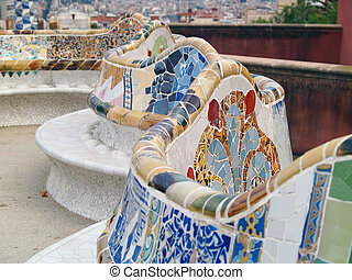 parK guell in barcelona, spain - Detail from Parc Guell in...