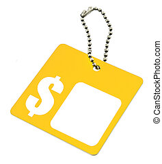 yellow tag with dollar symbol