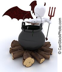 deamon with cauldron of eyeballs on log fire - 3D render of...