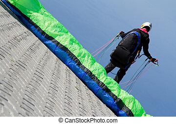 Para glider - a para glider preparing to jump