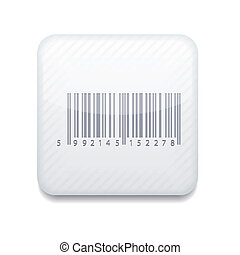 Vector white bar code icon. Eps10. Easy to edit