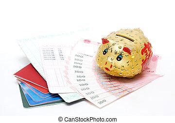 Piggy bank and passbook