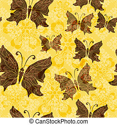 Yellow-brown floral pattern