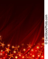 shining stars over red background
