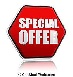 special offer button - text special offer in 3d red hexagon...