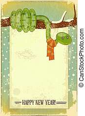 Year of the snake retro card - New Year Postcard design -...