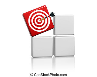 red target sign with arrow on boxes
