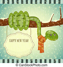 Year of the snake card - New Year Postcard design - symbol...