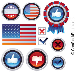 Vector set with voting and election design elements -...