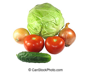 Set of different vegetables isolated on white - Set of...