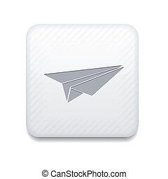 Vector white origami plane icon. Eps10. Easy to edit