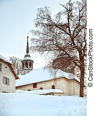 Megeve, Calvery in winter, French Alps - winter church in...