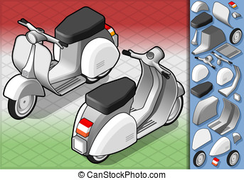 isometric white scooter in two position