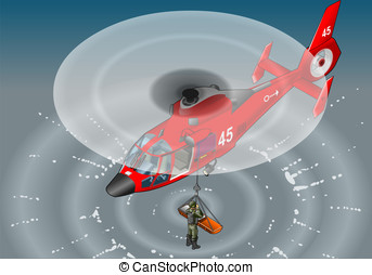 isometric red helicopter in flight in rescue - Detailed...