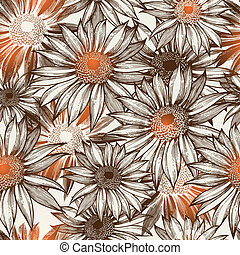 Seamless glamorous floral pattern, hand-drawing. Vector...