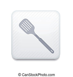 Vector white slotted kitchen spoon icon. Eps10. Easy to edit