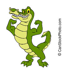 Alligator - hand drawn cartoon of an alligator flexing his...
