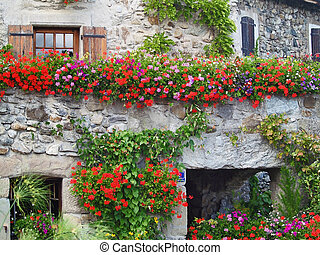 Beautiful House with Flowers in Yvoire, Geneva lake, France...