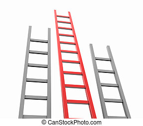 Ladders - Three ladders isolated on white background,...