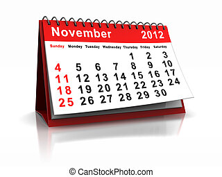 November - 3d calendar with word November and number 2012