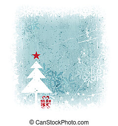 Winter Christmas background with Christmas tree - Grungy and...