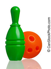 Toy bowling - Single plastic skittle of toy bowling with...