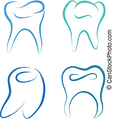 scribble teeth - teeth set healthy vector illustration...