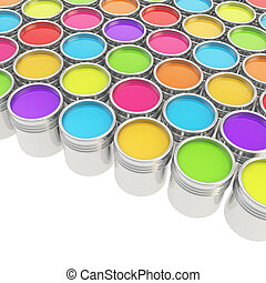 Buckets full of rainbow colored oil paint