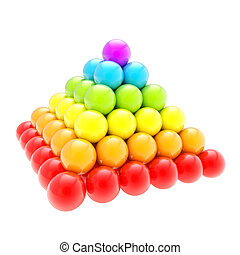 Pile pyramid of glossy spheres isolated on white - Pile...