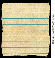 Old vintage yellowing torn lined paper isolated on black.