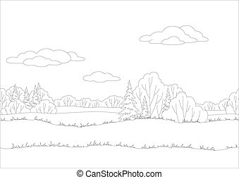 Seamless background, woodland landscape, contour - Seamless...