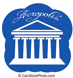 Greece Parthenon icon, vector illustration