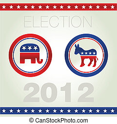 US ELECTION - Vector illustration of US election badges and...