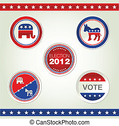 US ELECTION - US election badges and icons